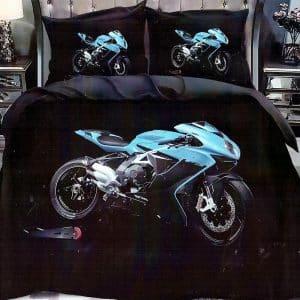 kék színben sportmotor pamut ágyneműhuzat