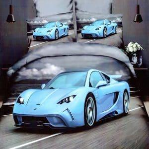pamut kék színben sportautó mintával ágynemű