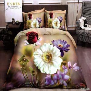 szép színű virágokkal pamut ágyneműhuzat