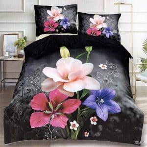 színes nagy virág mintás pamut ágynemű