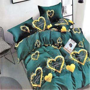 zöld alapon arany szivecske mintás ágynemű
