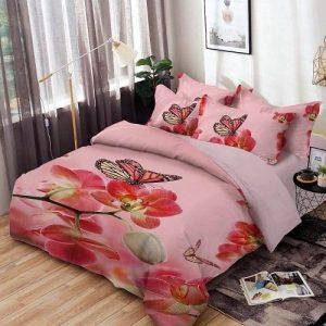 Ágynemű Rózsaszín Virág Pillangóval