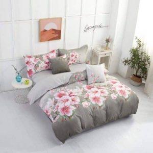 Krepp Ágynemű Rózsaszín Virágok