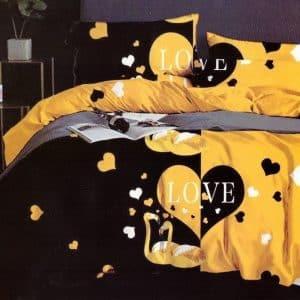 ágynemű fekete sárga színben középen szívvel
