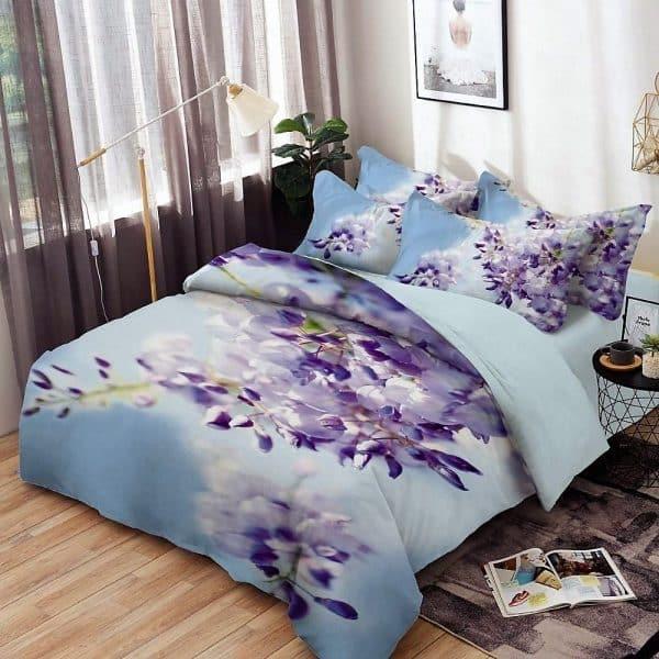 ágynemű garnitúra kék alapon szép virágokkal