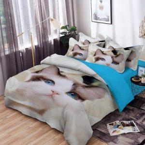 ágynemű garnitúra nagy cica mintával világos