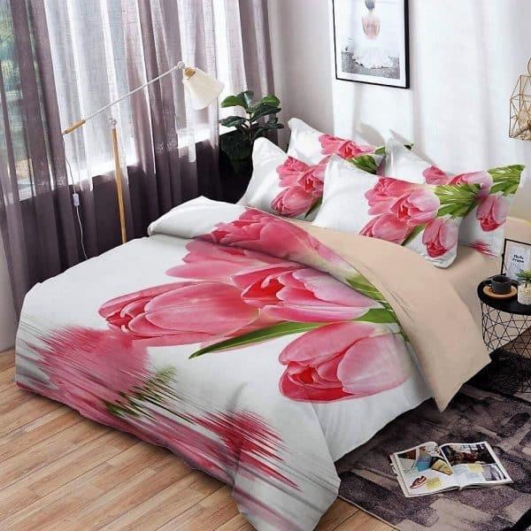 ágynemű rózsaszín virágok fehér alapon minta