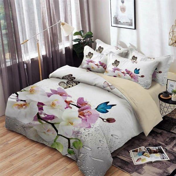 ágyneműhuzat fehér krém alapon színes virágok