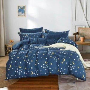 Pamut Ágynemű Kék Színben Csillagokkal
