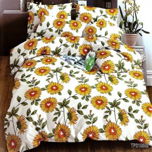 pamut ágynemű fehér alapon sárga virágokkal