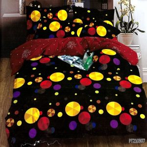 pamut ágynemű fekete alapon színes pöttyök