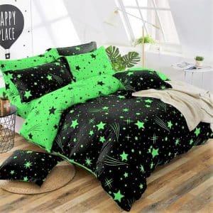 Ágynemű Neon Zöld Csillagos