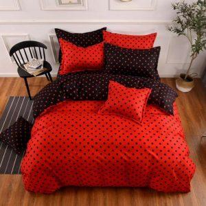 Ágynemű Piros Fekete Pöttyökkel