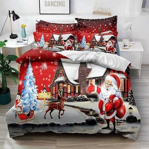 Ágyneműhuzat Karácsony Házikóval